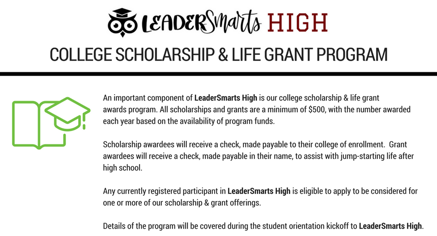 LeaderSmarts High Scholarship and Grant program